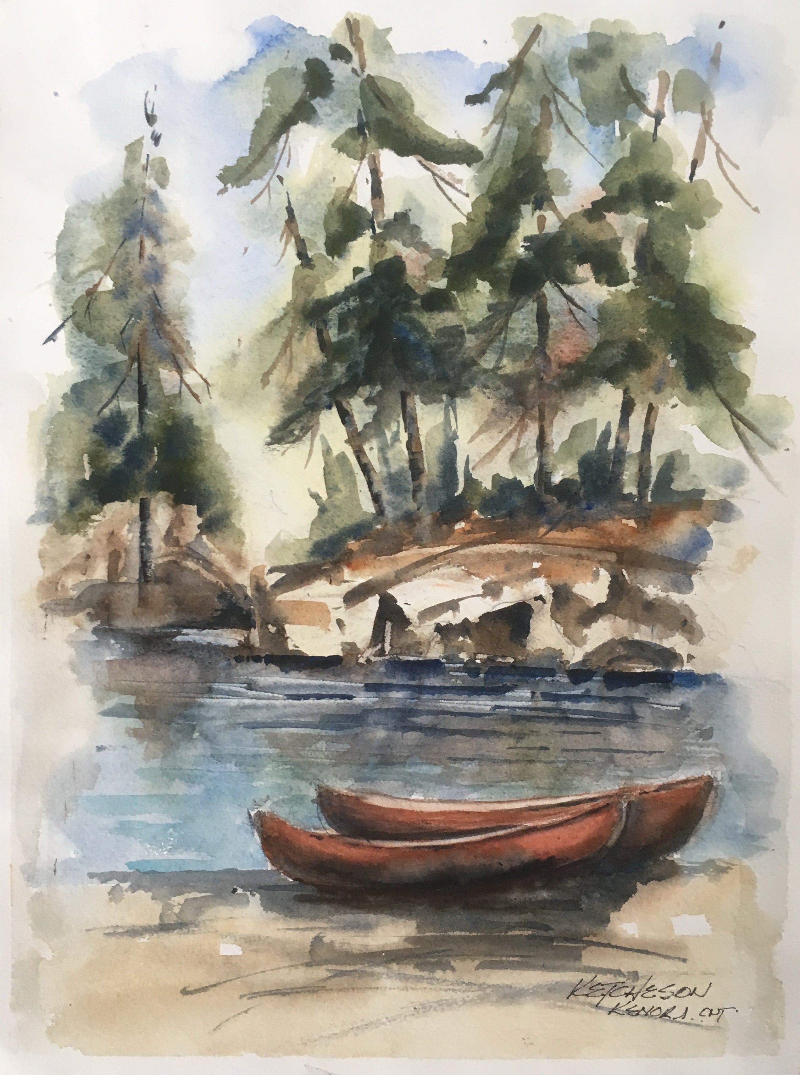 """Canoes - Kenora"" - Watercolour painting for sale - CreativeCollection"