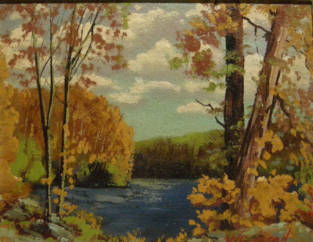 "Oil Painting - ""Fall Landscape with Lake"" - William Carson - CreativeCollection"