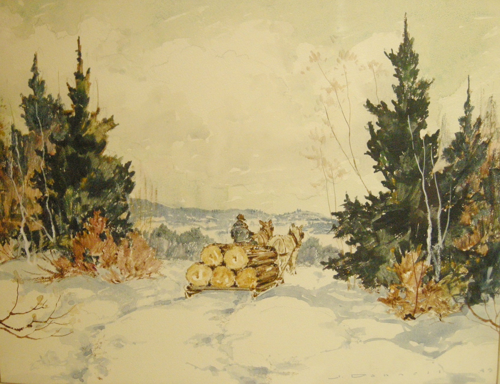 """Winter Landscape with horses hauling logs"" - Watercolour painting by James Donnell - CreativeCollection"