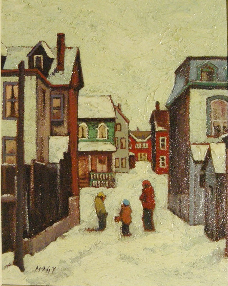 """Toronto Back Lane in Winter"" - Oil painting by Zsoltan Nagy - CreativeCollection"