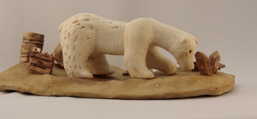 """Polar Bear - Now"" pottery sculpture - CreativeCollection"