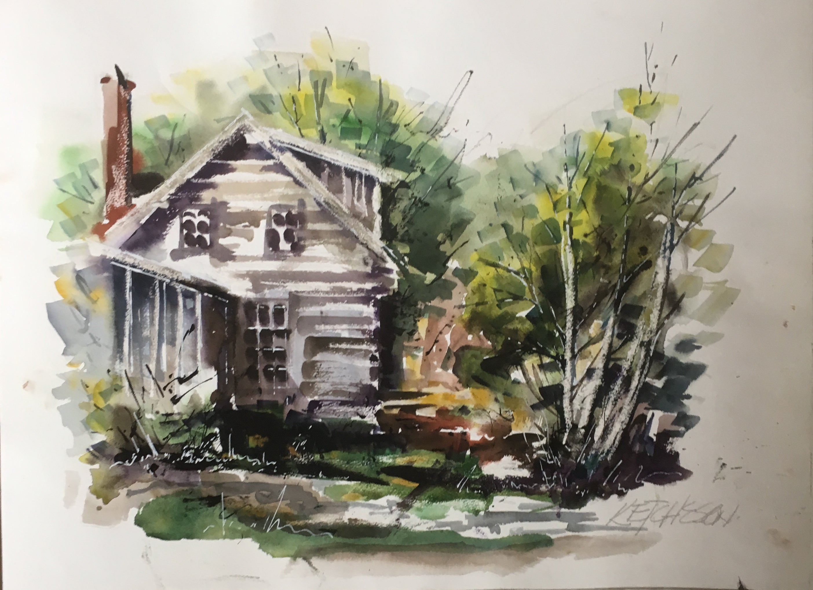 """Log Cabin"" - Watercolour painting for sale - CreativeCollection"