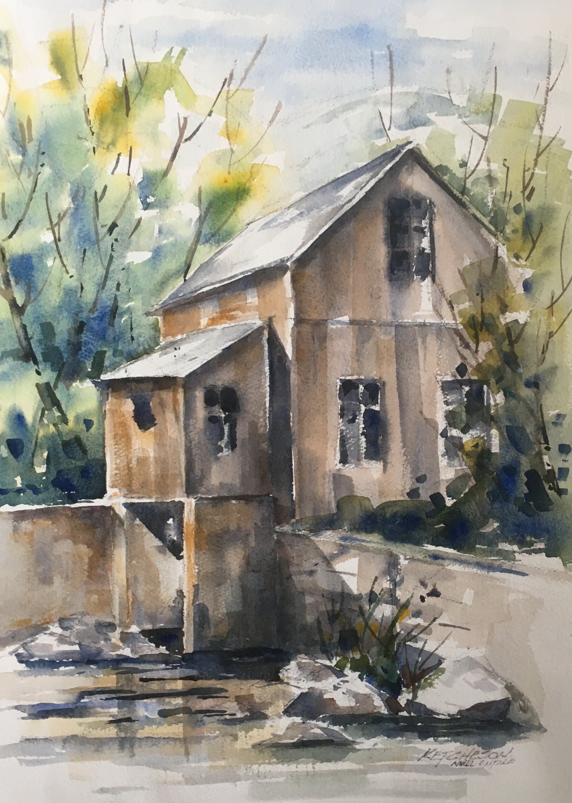 """The Mill"" - Watercolour painting for sale - CreativeCollection"