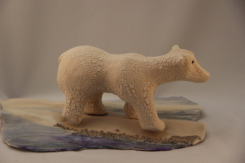 """Polar Bear - Then"" pottery sculpture - CreativeCollection"
