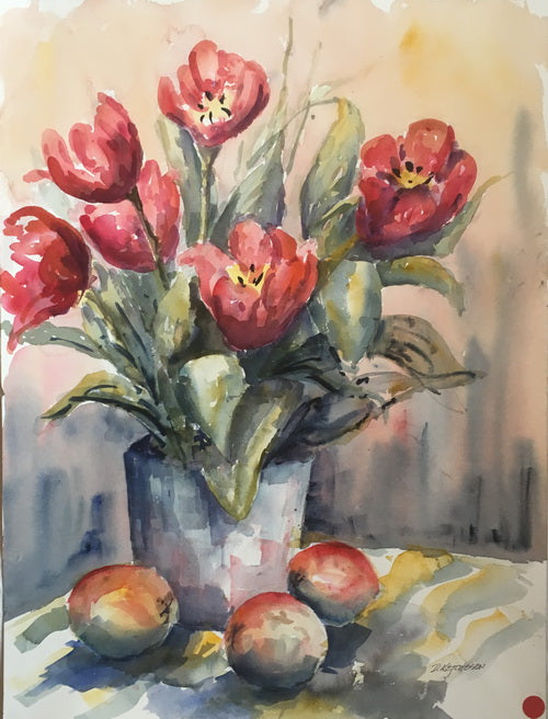 """Tulips"" - Watercolour painting for sale - CreativeCollection"