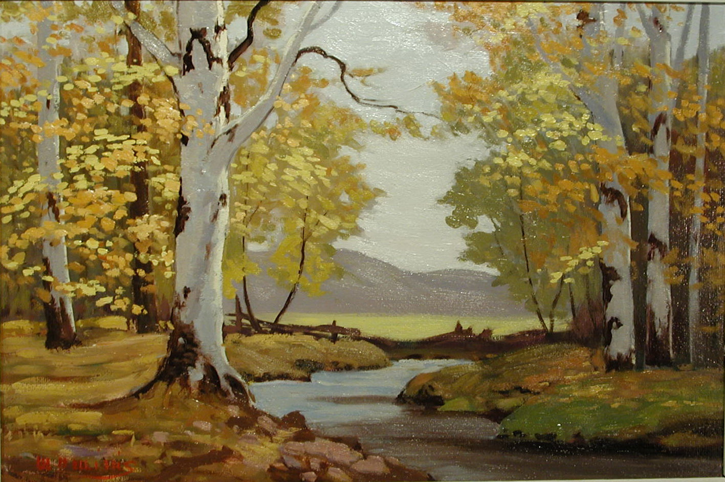 """Fall Landscape With Birches"" - Oil painting for sale - CreativeCollection"