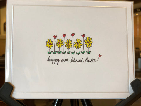 Card - Happy and Blessed Easter with Flowers