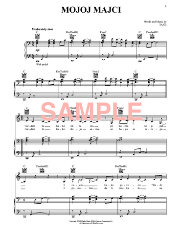 """Mojoj majci"" Sheet Music for Piano & Vocal"