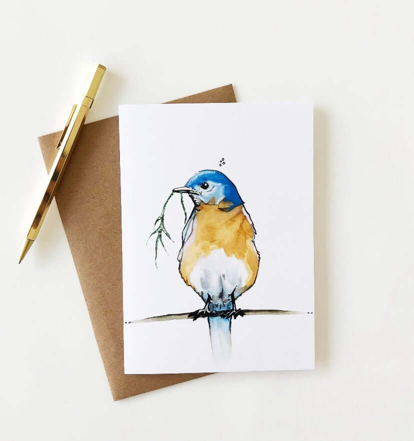 "Kelly Dixon Art - ""Blue Bird"" Card"