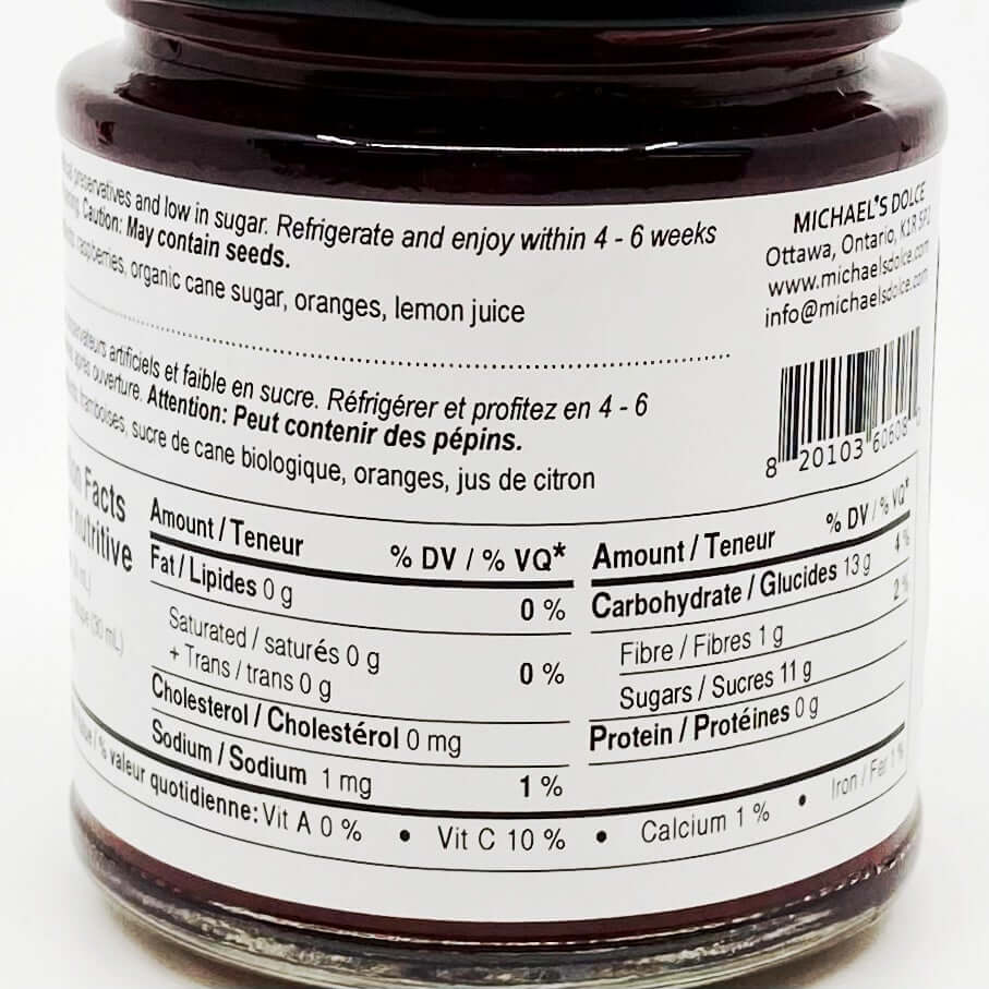 Michael's Dolce- Raspberry & Orange Jam (190ml)