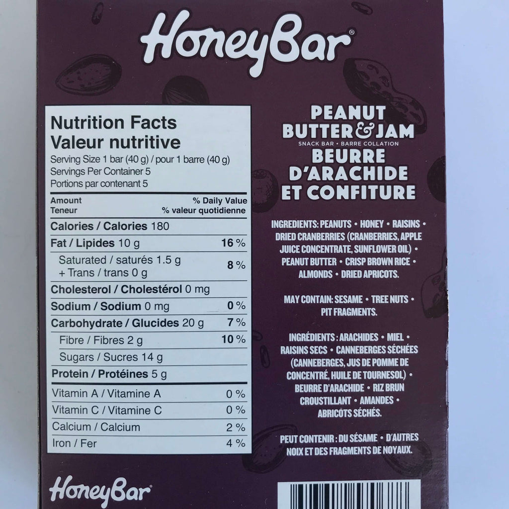 HoneyBar- Peanut Butter & Jam (5 bars)