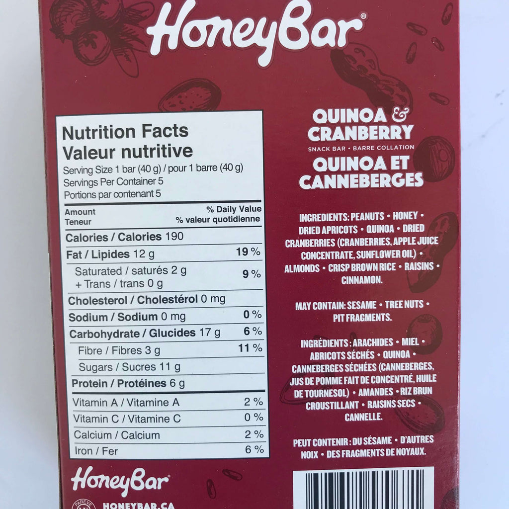 HoneyBar-  Quinoa Cranberry (5 bars)