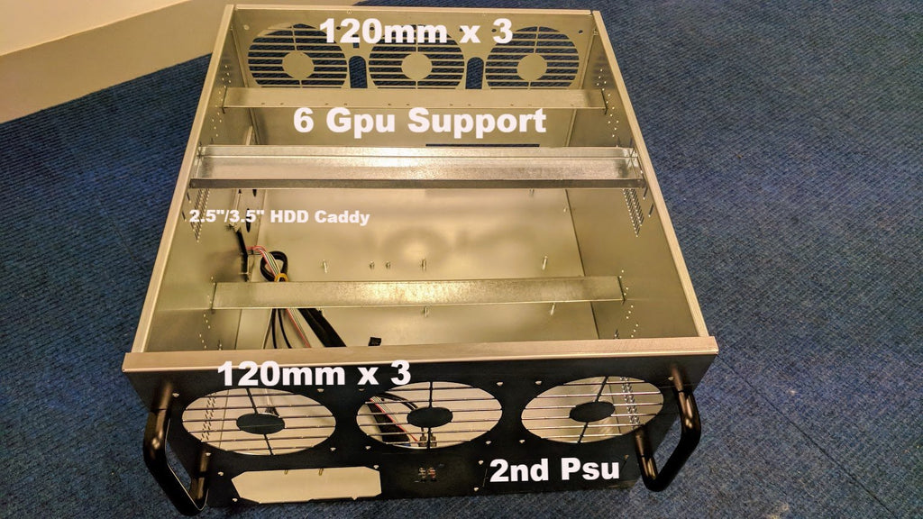 MineStation 1 - Metal construction Fully enclosed Mining Chassis For 6 Gpu. Easy Flatpack - X-Case.co.uk Ltd