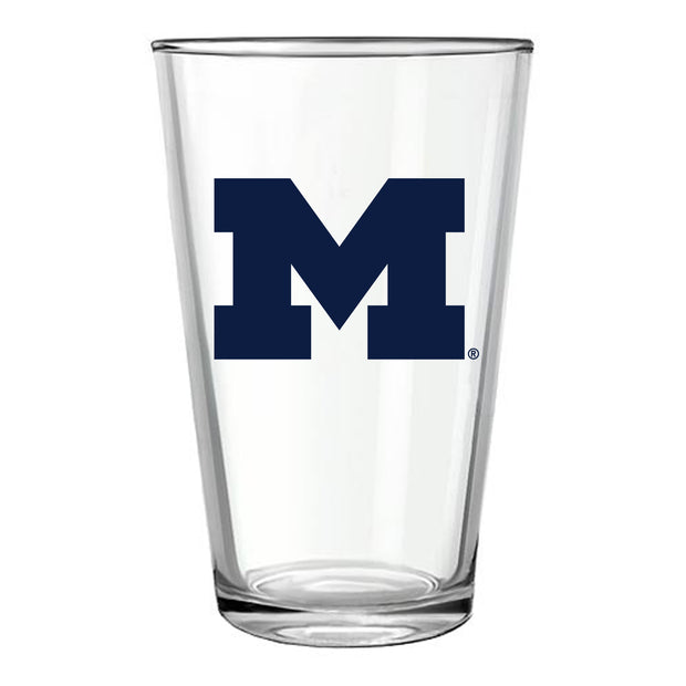MICHIGAN BLOCK M PINT GLASS