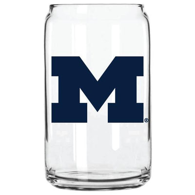 MICHIGAN BLOCK M GLASS CAN