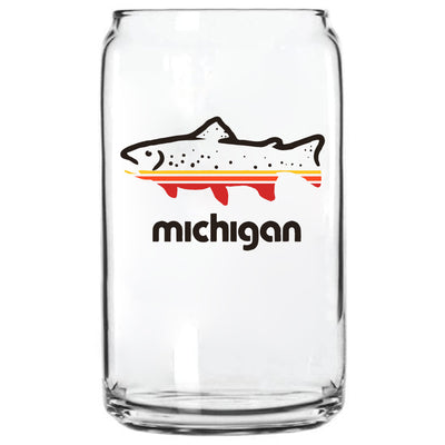 FISH MICHIGAN GLASS CAN