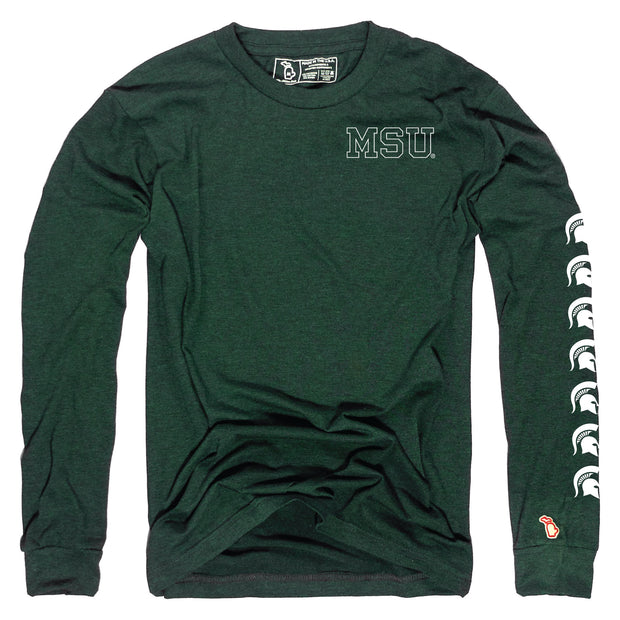 MSU - SPARTAN HELMET REPEATER LONG SLEEVE (UNISEX)