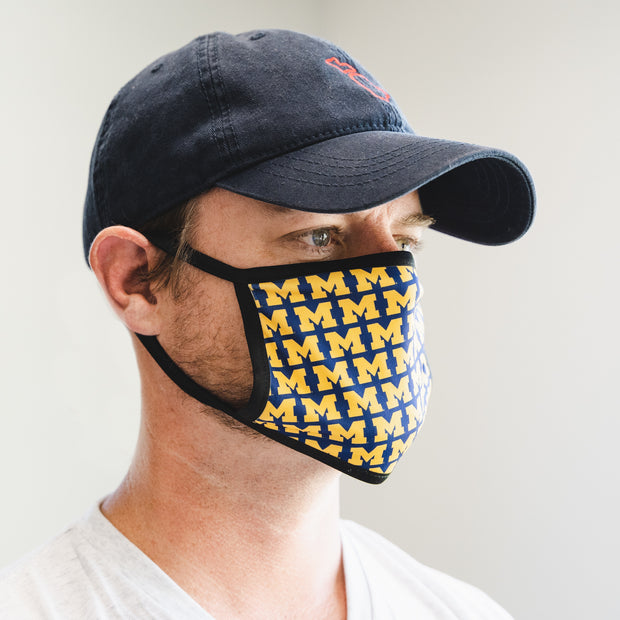 UofM - BLOCK M REPEATER POLY MASK - ADULT