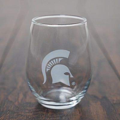 MSU - SPARTAN HELMET STEMLESS WINE GLASS