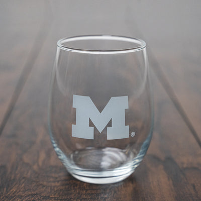 MICHIGAN - BLOCK M STEMLESS WINE GLASS