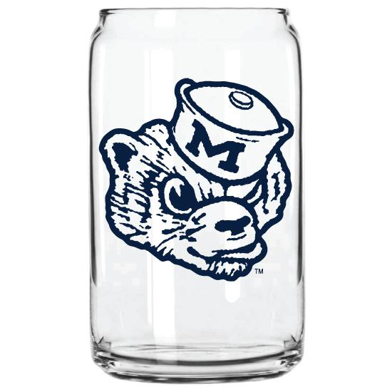 MICHIGAN WOLVERBEAR GLASS CAN
