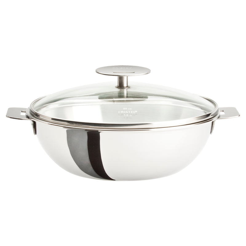 Cristel Casteline Removable Handle - 4 Qt Wok w/Lid
