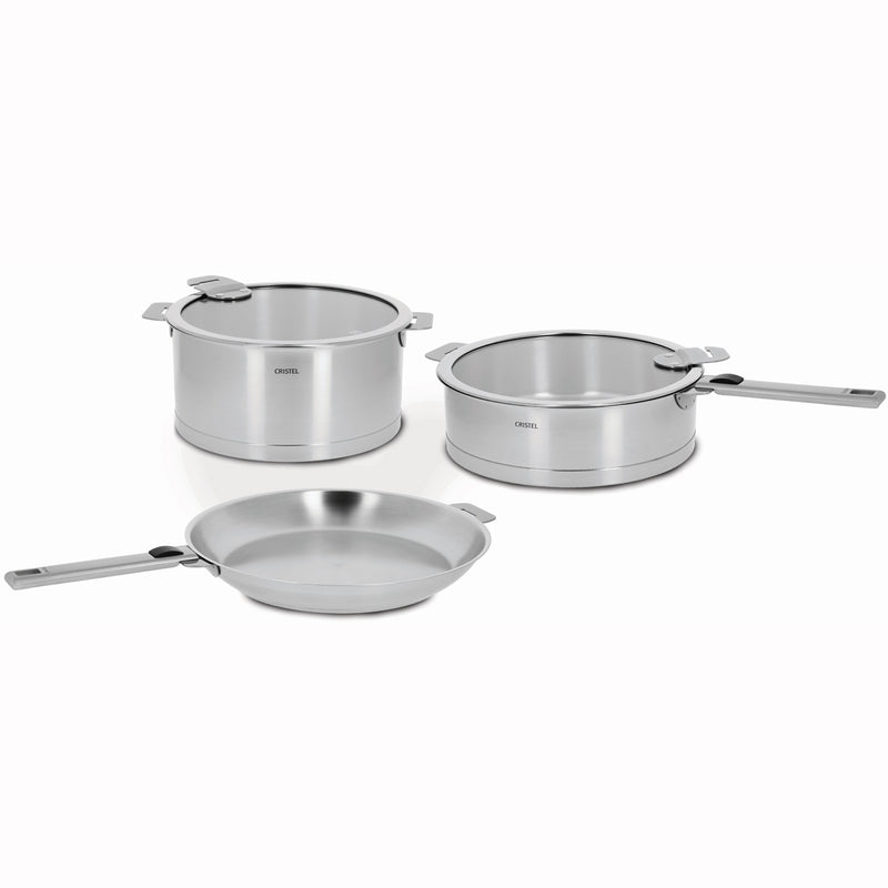 Cristel Strate Removable Handle - 7-Pc Stainless Steel Cookware Set