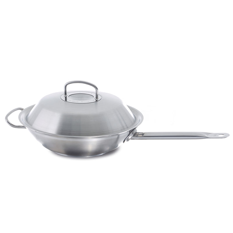 "Fissler 12"" Original Profi Wok w/Long Handle and Domed Lid"