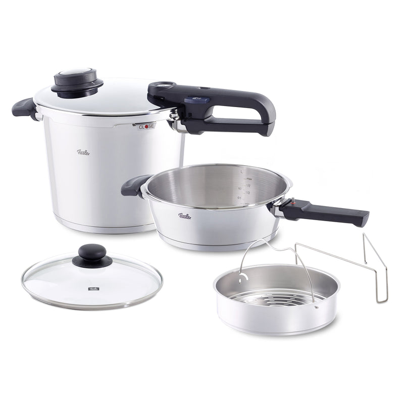 Fissler 6 Pc Medium - 6.4qt and 2.7qt Vitavit Premium Pressure Cooker Set