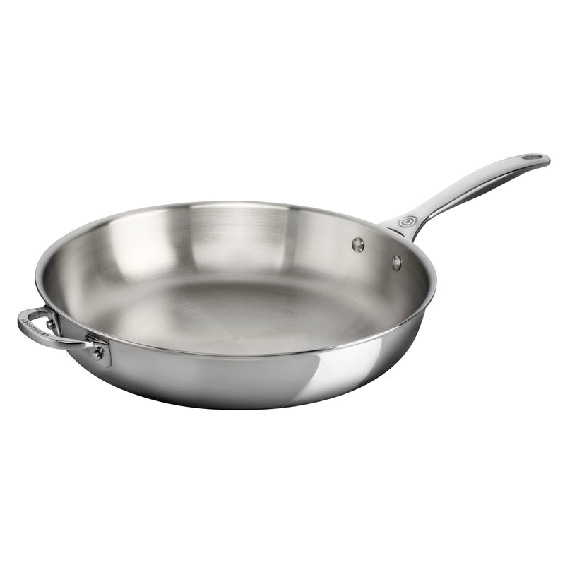 "Le Creuset 12.5"" Deep Fry Pan with Helper Handle - Stainless Steel"