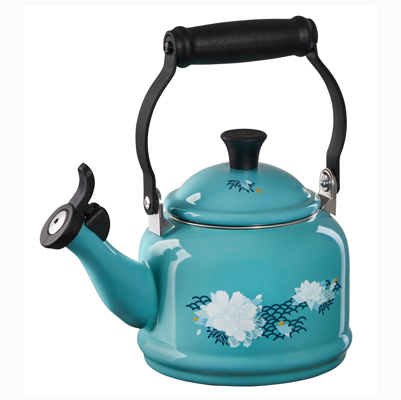 Le Creuset 1.25 Qt. Demi Kettle - Lotus Applique - Caribbean