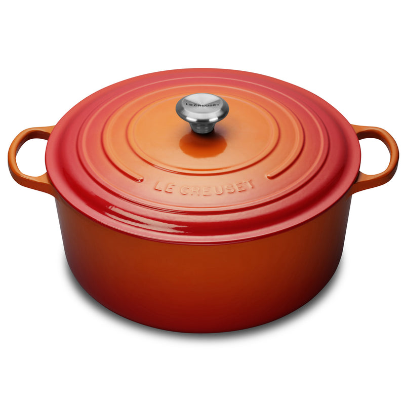 Le Creuset 13 1/4 Qt. Signature Round Dutch Oven w/Stainless Steel Knob - Flame