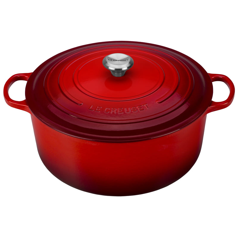 Le Creuset 13 1/4 Qt. Signature Round French Oven w/Stainless Steel Knob - Cherry