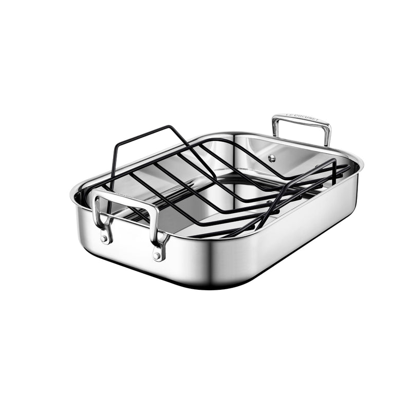 "Le Creuset 14"" x 10"" Small Roasting Pan w/Nonstick Rack - Stainless Steel"