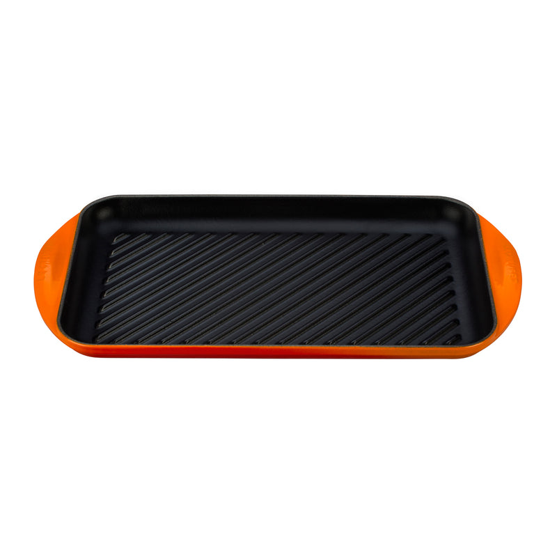 "Le Creuset 15 3/4"" x 9"" x 1"" Extra Large Double Burner Grill - Flame"