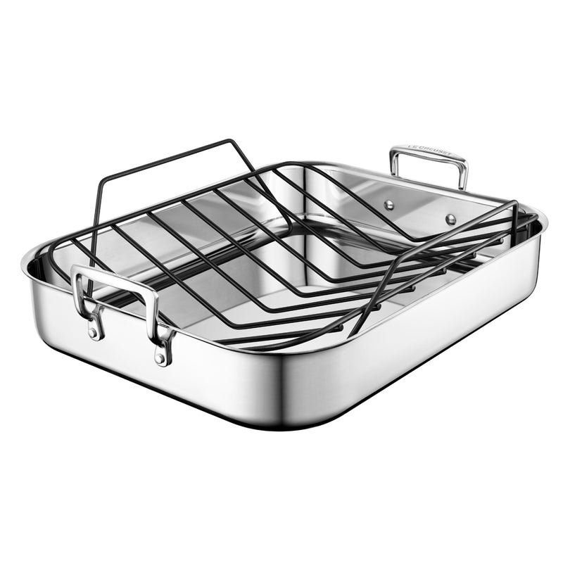 "Le Creuset 16 1/4"" x 13 1/4"" Large Roasting Pan w/Nonstick Rack - Stainless Steel"