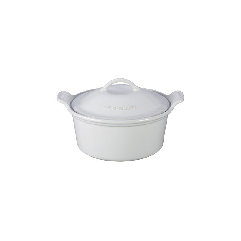 "Le Creuset 18 oz. (6 1/4"") Heritage Covered Cocotte - White"