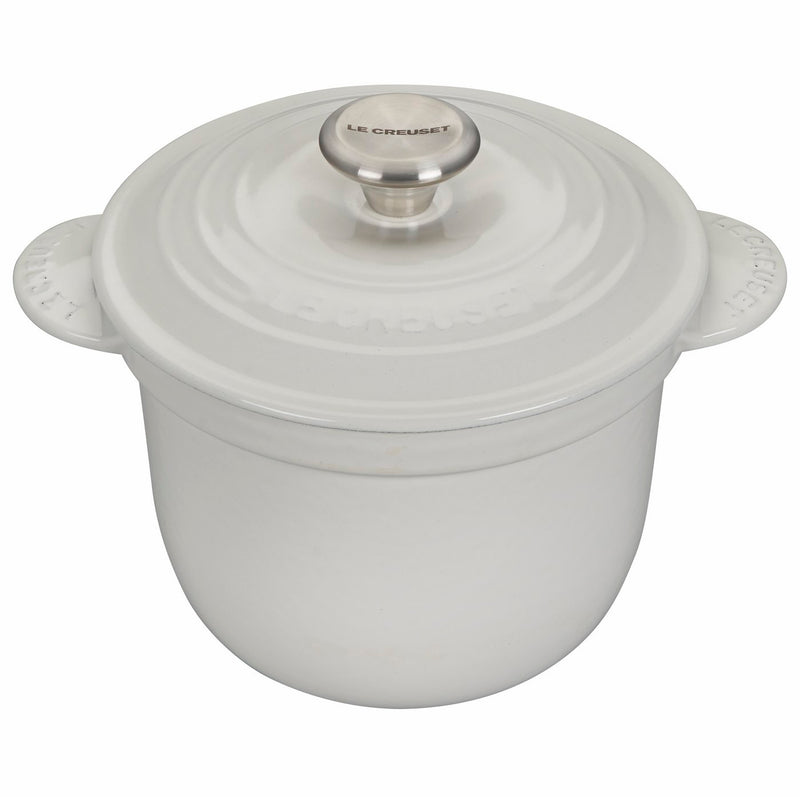 Le Creuset 2 1/4 Qt. Rice Pot w/Stainless Steel Knob & Stoneware Insert - White