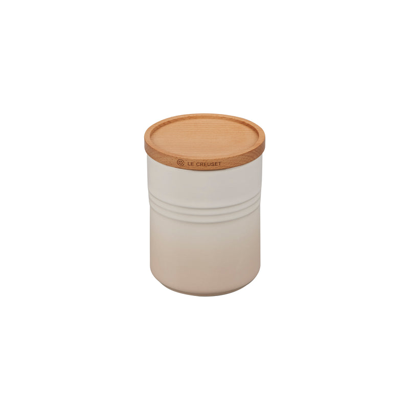 "Le Creuset 22 oz. (4"") Canister with Wood Lid - Meringue"