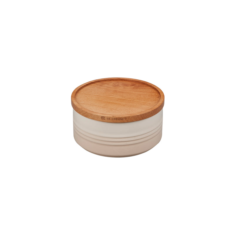 "Le Creuset 23 oz. (5.5"") Canister with Wood Lid - Meringue"