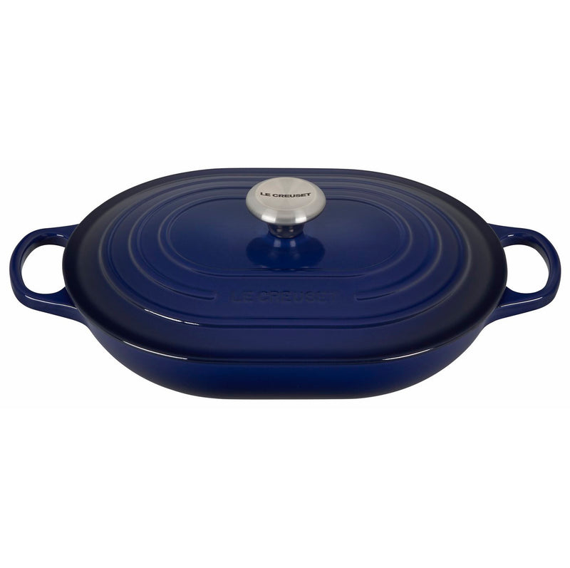 Le Creuset 3 3/4 Qt. Signature Oval Casserole w/Stainless Steel Knob- Indigo