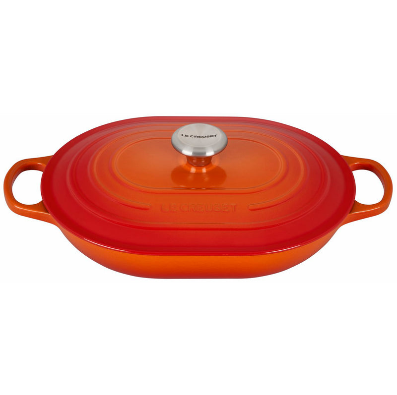 Le Creuset 3 3/4 Qt. Signature Oval Casserole w/Stainless Steel Knob - Flame
