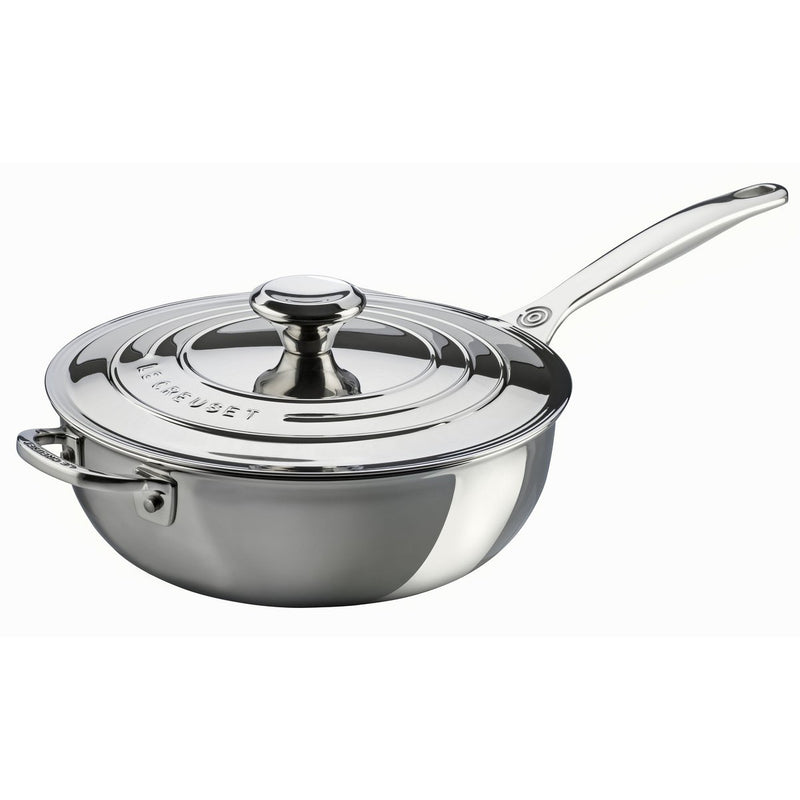 Le Creuset 3.5 Qt. Saucier Pan with Lid & Helper Handle - Stainless Steel