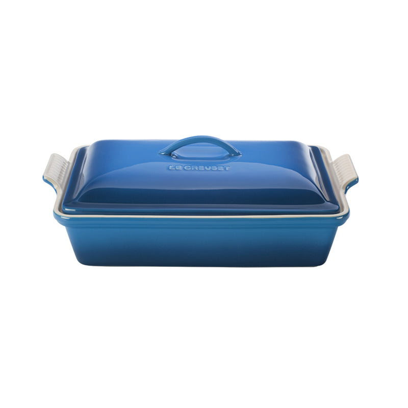 "Le Creuset 4 Qt. (12"" x 9"") Heritage Covered Rectangular Casserole - Marseille"
