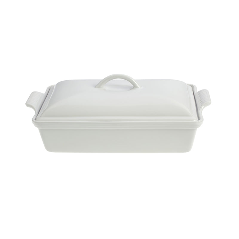 "Le Creuset 4 Qt. (12"" x 9"") Heritage Covered Rectangular Casserole - White"