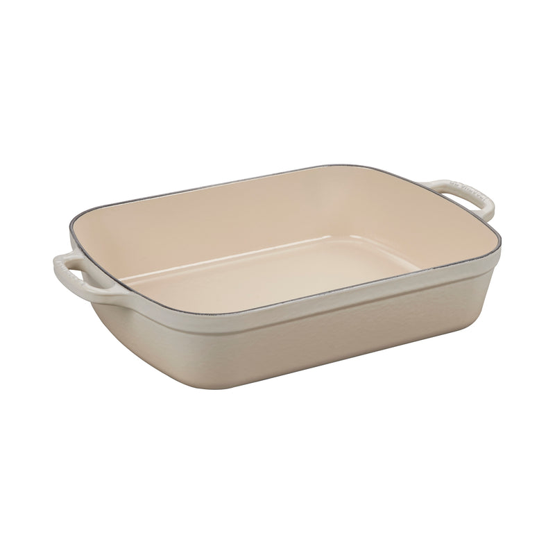 "Le Creuset 5 1/4 Qt. (10"" x 15 3/4"") Signature Rectangular Roaster - Meringue"