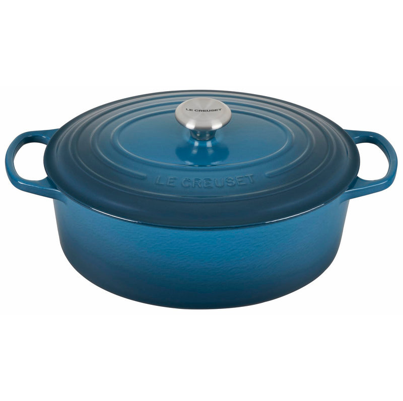 Le Creuset 6 3/4 Qt. Signature Oval Dutch Oven w/Stainless Steel Knob - Deep Teal