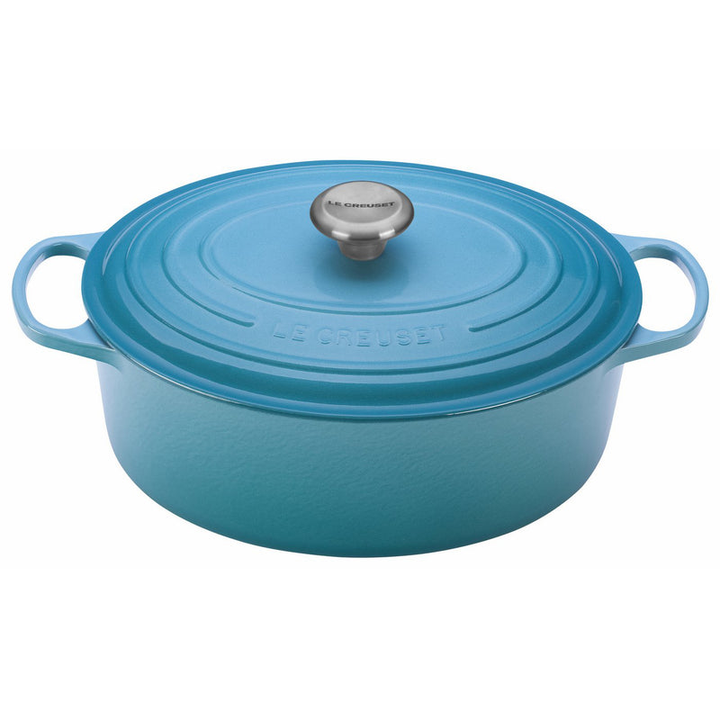 Le Creuset 6 3/4 Qt. Signature Oval French Oven w/Stainless Steel Knob - Caribbean