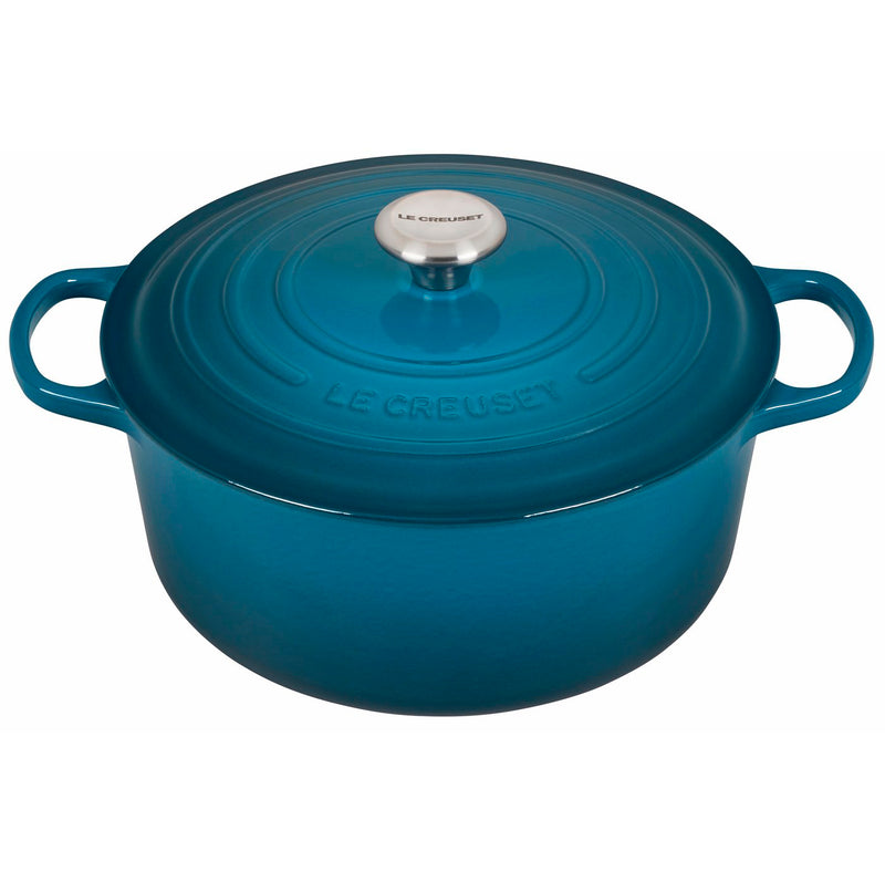 Le Creuset 7 1/4 Qt. Signature Round Dutch Oven w/Stainless Steel Knob - Deep Teal