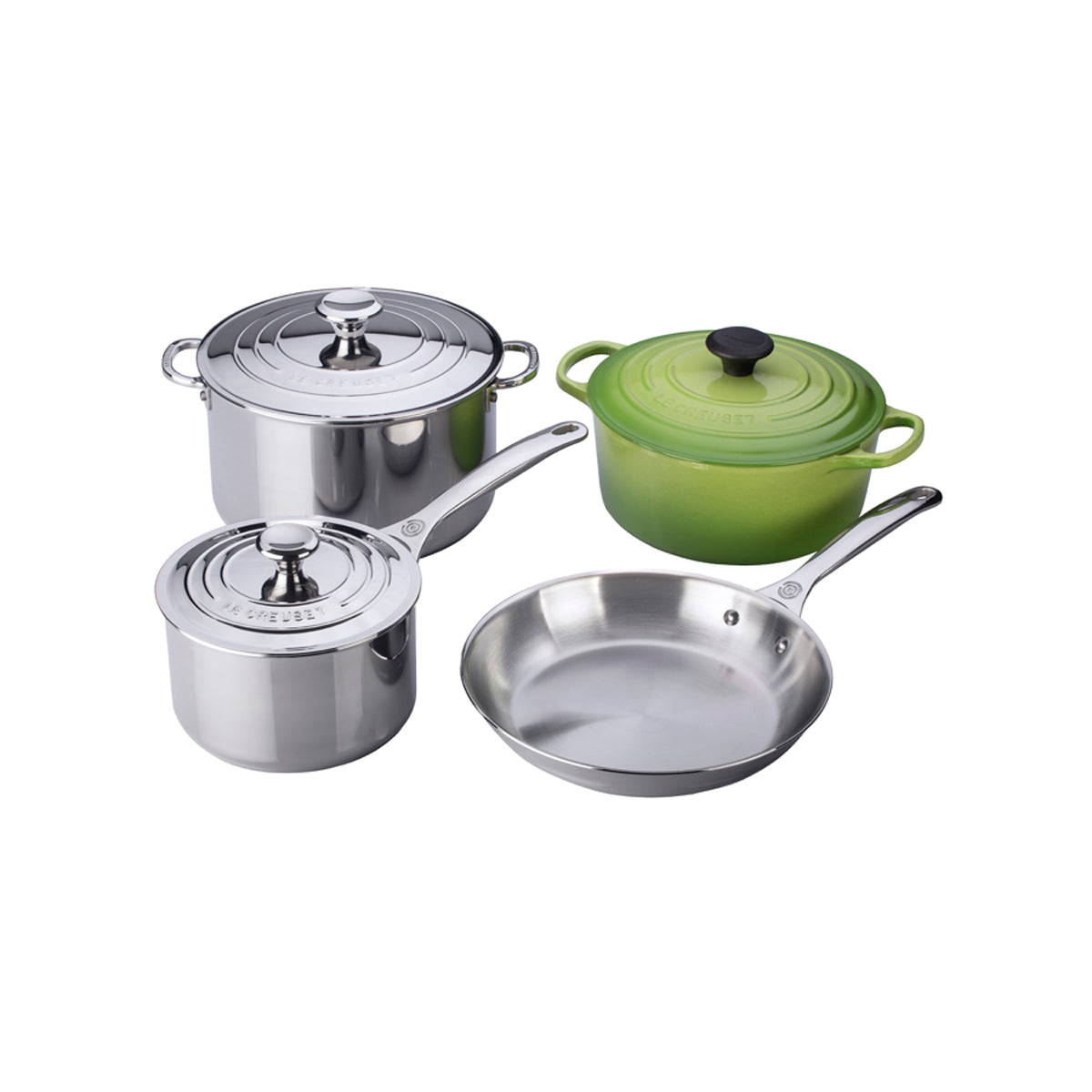 Le Creuset 7PC Stainless Steel & Enameled Cast Iron Cookware Set - Palm